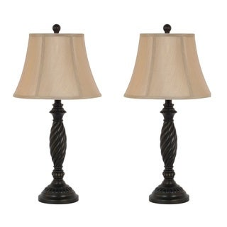 27-inch Dark Bronze Table Lamp Set