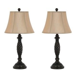 27-inch Dark Bronze Table Lamp Set