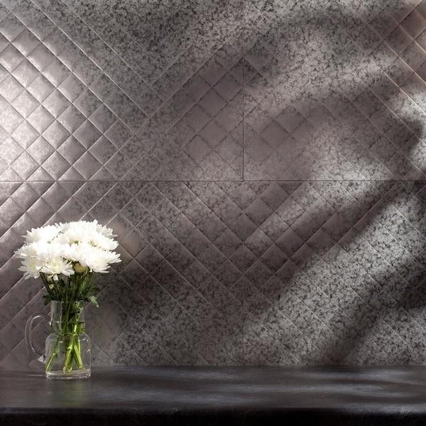 fasade quilted galvanized steel 18 inch x 24 inch backsplash panel