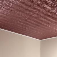 Fasade Current Vertical Argent Copper 2-feet x 2-feet Glue-up Ceiling Tile