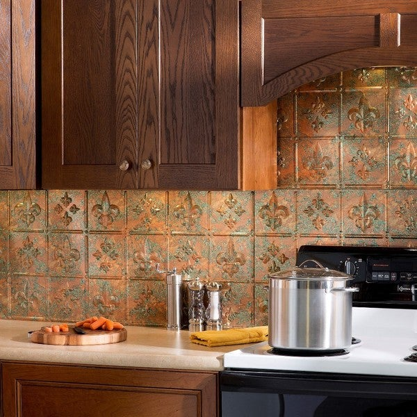 fasade fleur de lis copper fantasy 18 inch x 24 inch backsplash panel