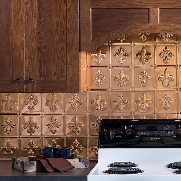fasade fleur de lis polished copper 18 inch x 24 inch backsplash panel