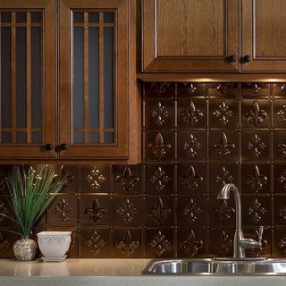 Fasade Fleur de Lis Oil Rubbed Bronze 18-inch x 24-inch Backsplash Panel