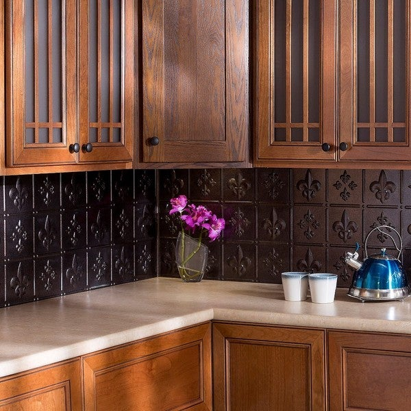 fasade fleur de lis smoked pewter 18 inch x 24 inch backsplash panel