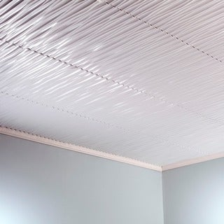 Fasade Dunes Vertical Gloss White 2-feet x 2-feet Glue-up Ceiling Tile