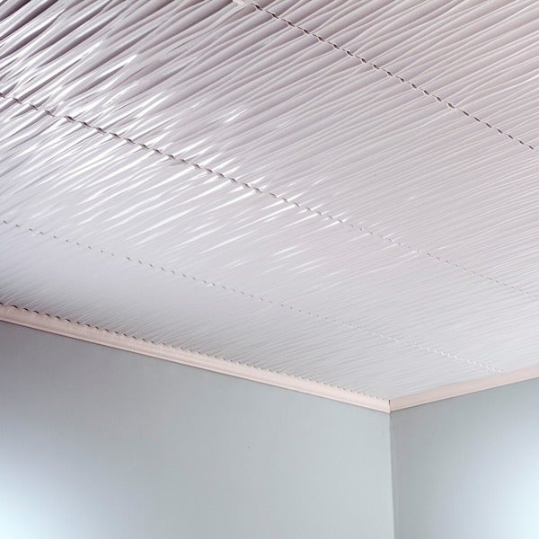 Fasade Dunes Vertical Matte White 2 Feet X Glue Up Ceiling