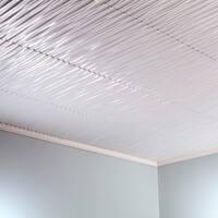 Fasade Dunes Vertical Matte White 2-feet x 2-feet Glue-up Ceiling Tile