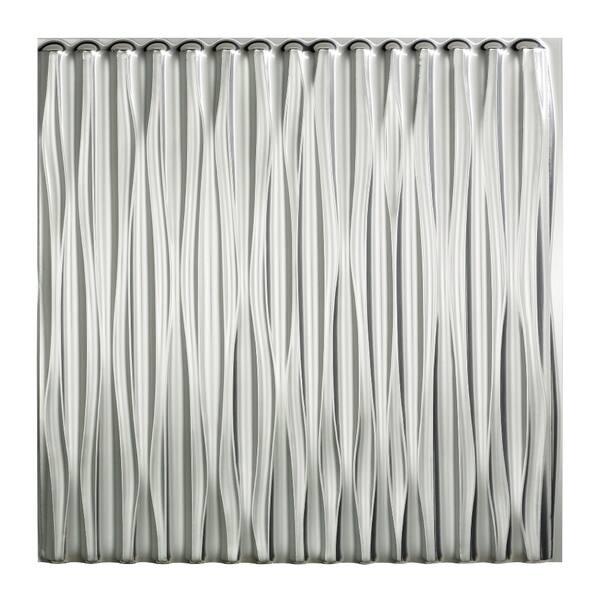 Fasade Dunes Vertical Brushed Aluminum 2 Feet X 2 Feet Glue Up Ceiling Tile Overstock 10395594