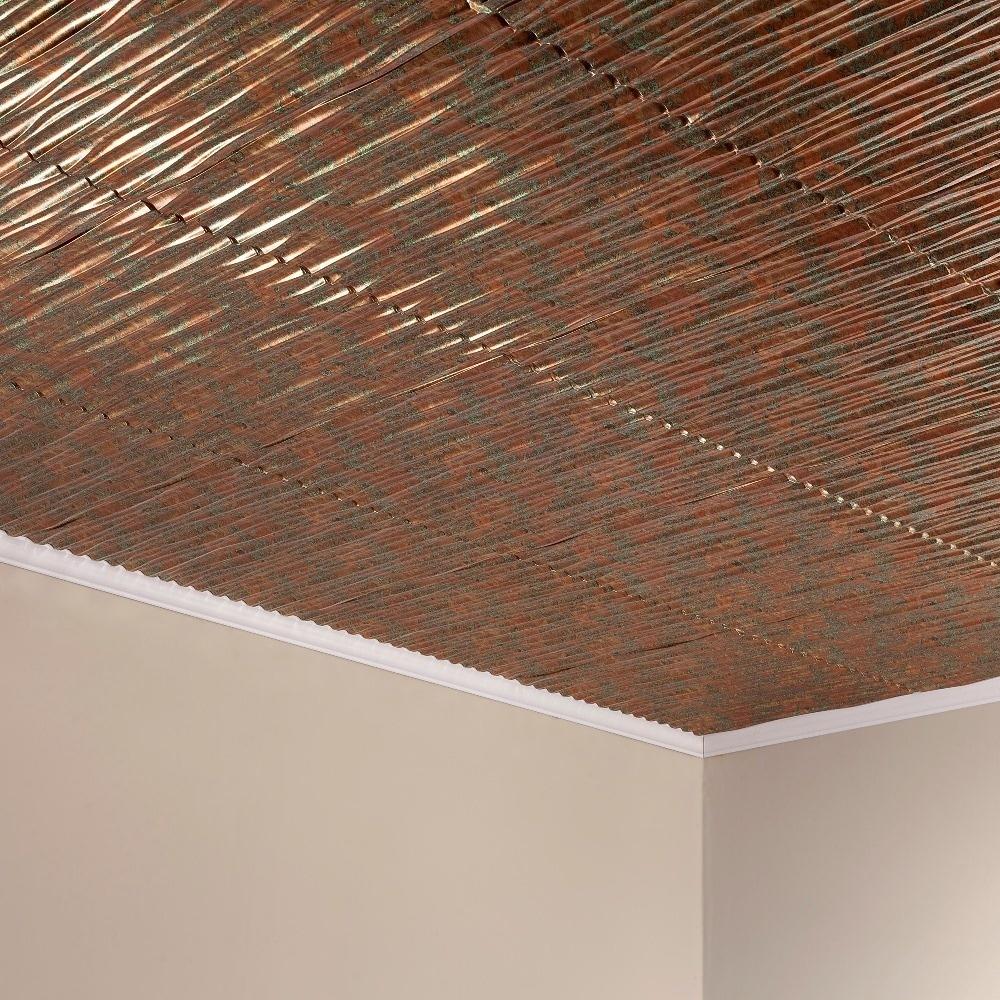 Fasade Dunes Vertical Copper Fantasy 2 Feet X 2 Feet Glue Up Ceiling Tile Overstock 10395597