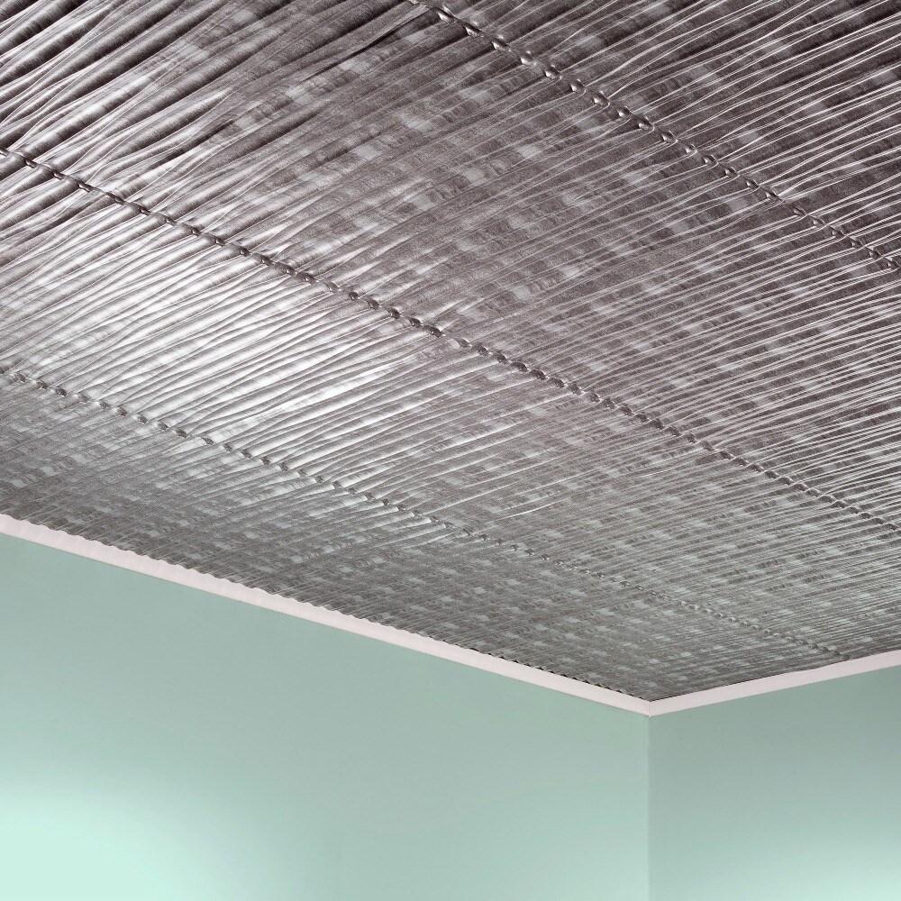 Fasade Dunes Vertical Crosshatch Silver 2 Feet X 2 Feet Glue Up Ceiling Tile Overstock 10395603
