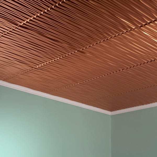 Fasade Dunes Vertical Polished Copper 2 Feet X 2 Feet Glue Up Ceiling Tile Overstock 10395604