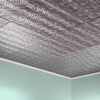 Fasade Current Vertical Crosshatch Silver 2-feet x 2-feet Glue-up Ceiling Tile
