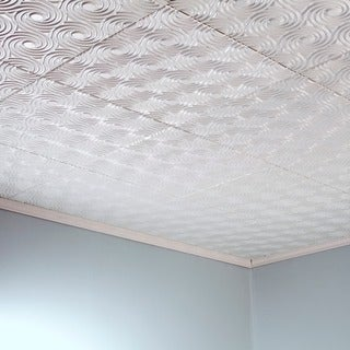Fasade Cyclone Gloss White 2-feet x 2-feet Glue-up Ceiling Tile