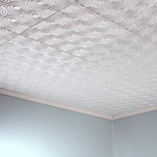 Fasade Cyclone Matte White 2-feet x 2-feet Glue-up Ceiling Tile