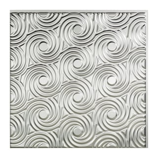 Fasade Cyclone Brushed Aluminum 2-feet x 2-feet Glue-up Ceiling Tile