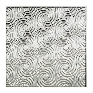 Fasade Cyclone Brushed Aluminum 2-feet x 2-feet Glue-up Ceiling Tile