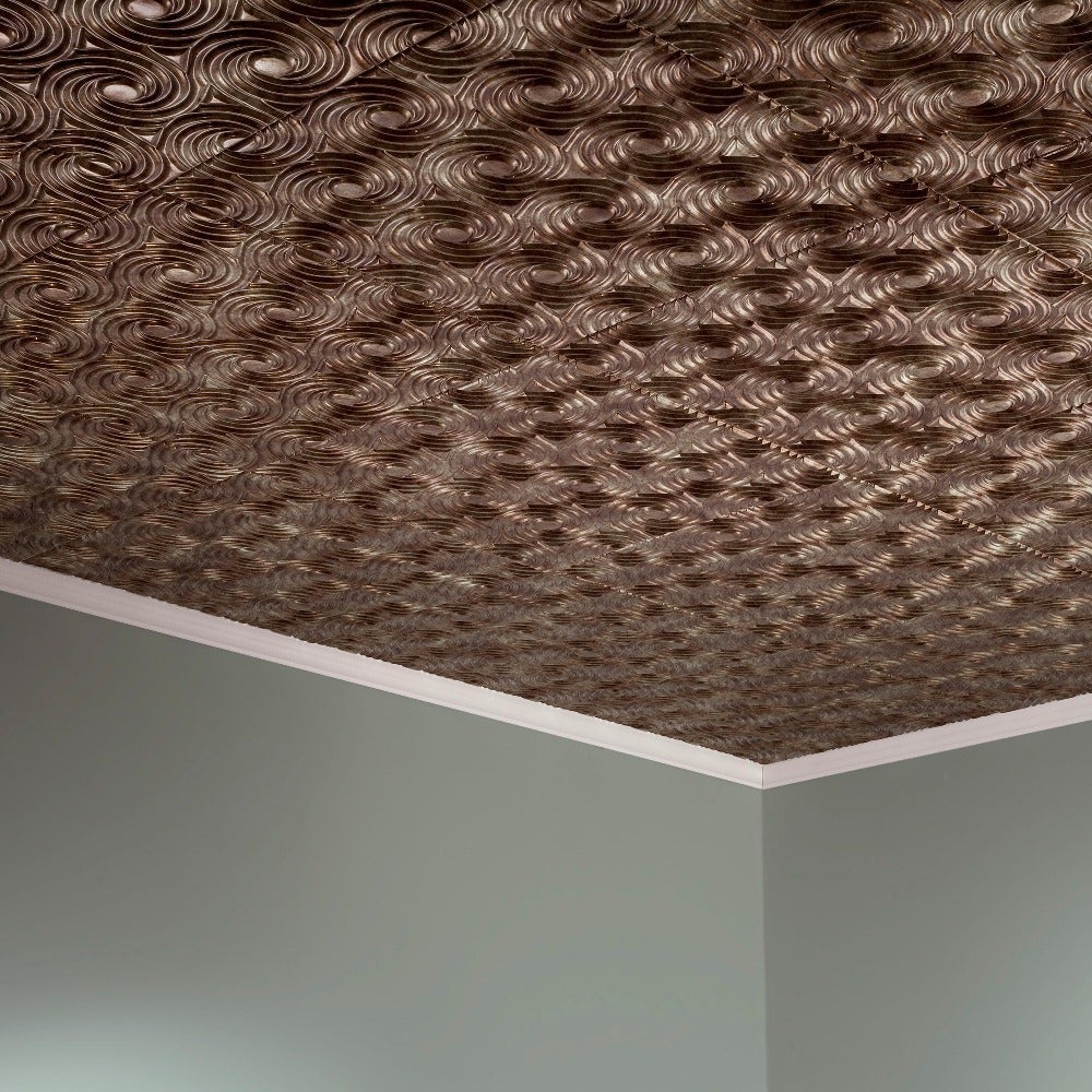 Fasade Cyclone Bermuda Bronze 2-feet x 2-feet Glue-up Ceiling Tile (2 x 2)