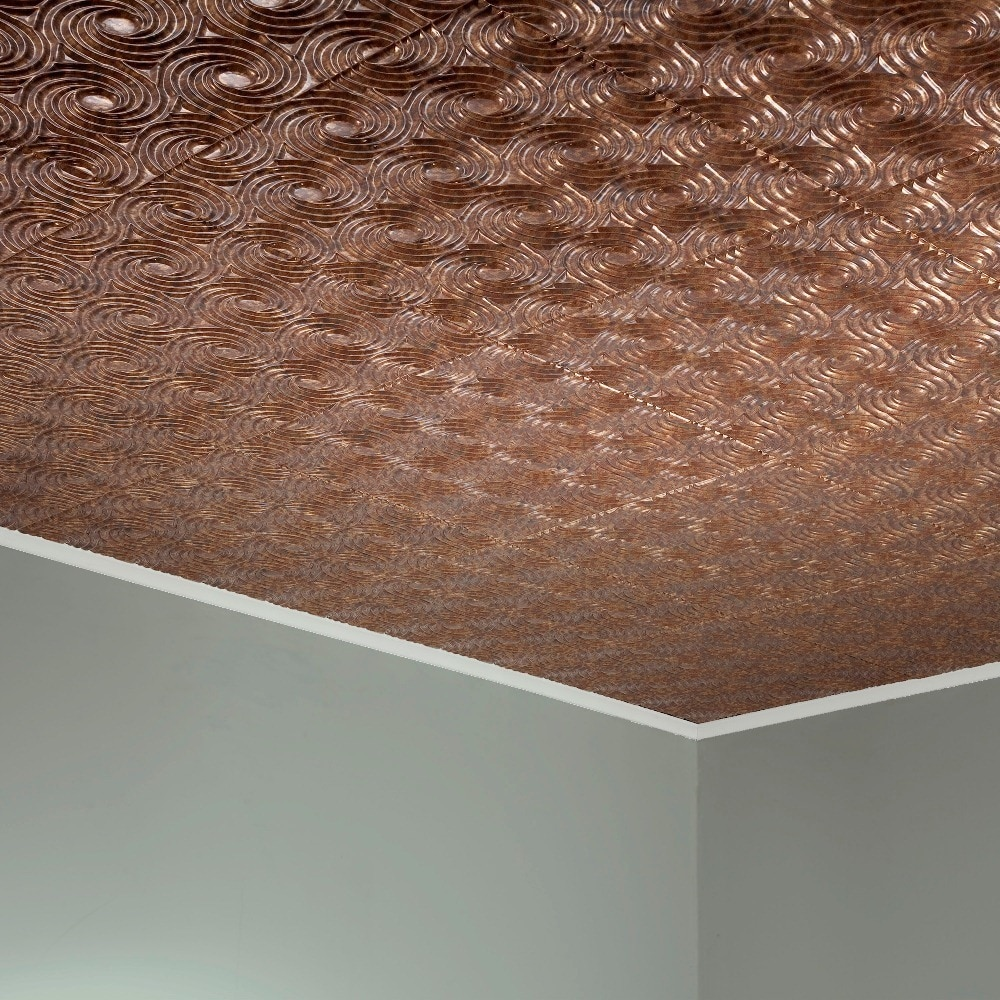 Fasade Cyclone Cracked Copper 2-feet x 2-feet Glue-up Ceiling Tile (2 x 2)
