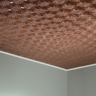 Fasade Cyclone Cracked Copper 2-feet x 2-feet Glue-up Ceiling Tile