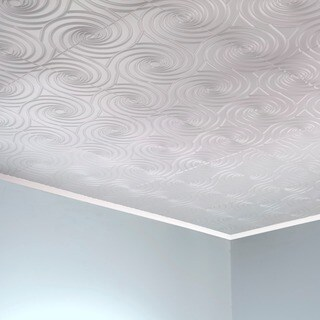 Fasade Typhoon Gloss White 2-feet x 2-feet Glue-up Ceiling Tile