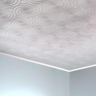 Fasade Typhoon Matte White 2-feet x 2-feet Glue-up Ceiling Tile