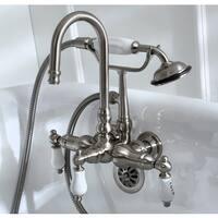 Bathtub Wall-Mount Claw Foot Tub Filler with Handshower in Satin Nickel
