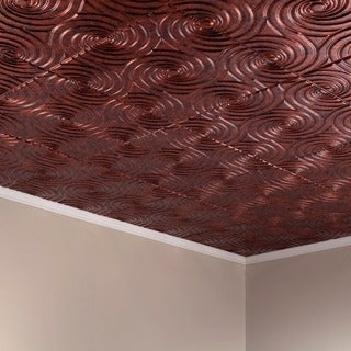 Fasade Typhoon Moonstone Copper 2-feet x 2-feet Glue-up Ceiling Tile