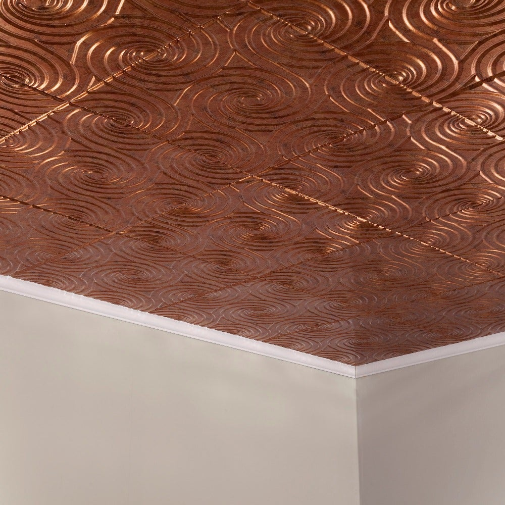 Fasade Typhoon Muted Gold 2-feet x 2-feet Glue-up Ceiling Tile (2 x 2)