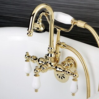 Bathtub Wall-Mount Claw Foot Tub Filler with Handshower in Polished Brass