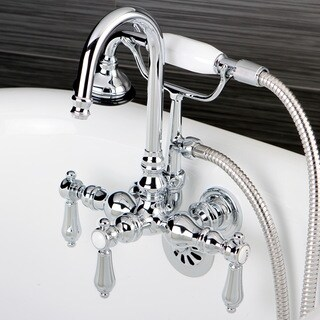 Bathtub Wall-Mount Claw Foot Tub Filler with Handshower in Polished Chrome