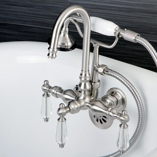 Crystal Handles Bathtub Wall-Mount Claw Foot Tub Filler with Handshower in Satin Nickel