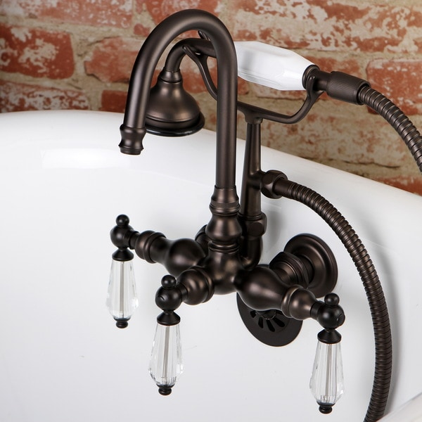 Crystal Handles Bathtub Wall-Mount Claw Foot Tub Filler with Handshower in Oil Rubbed Bronze
