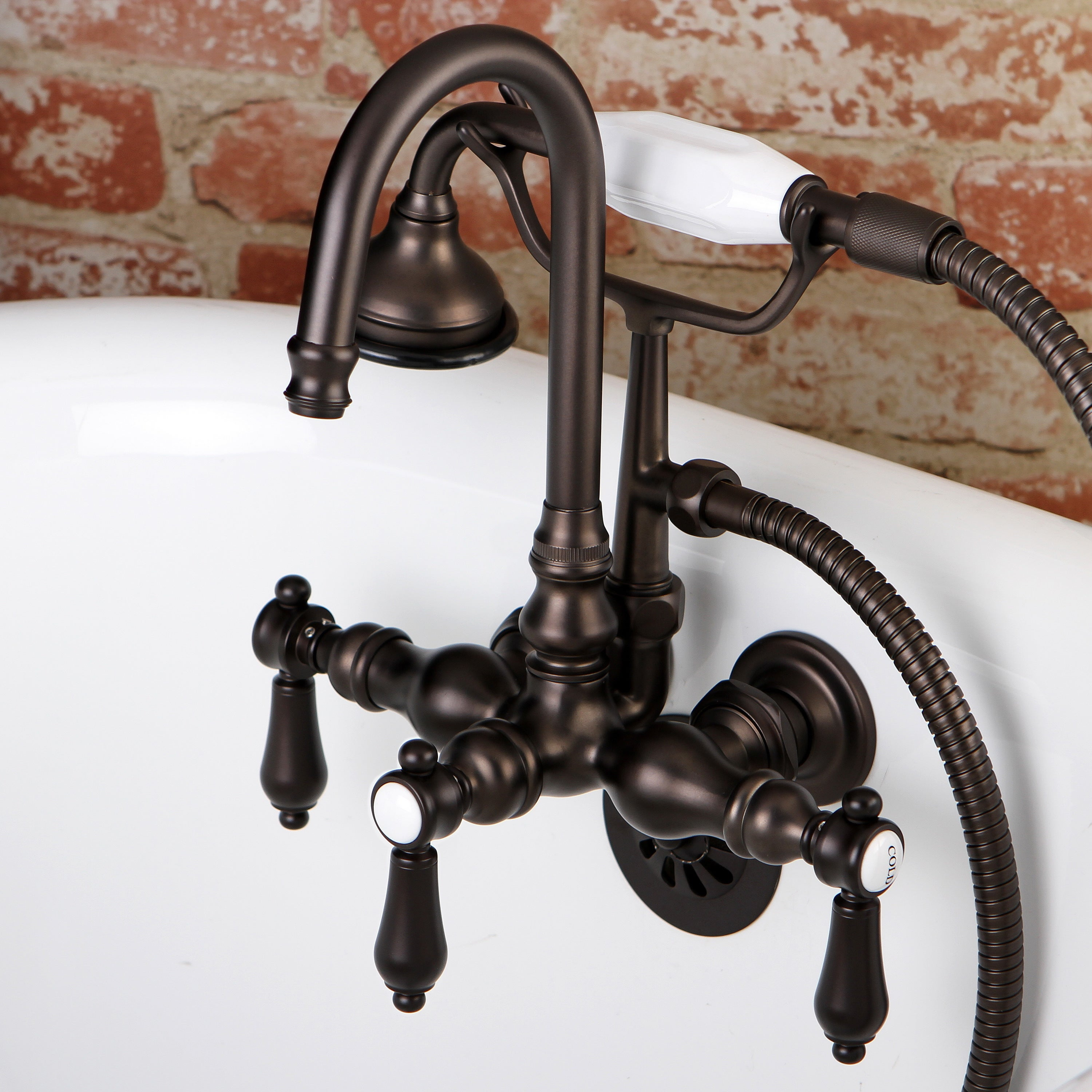 Bathtub Wall Mount Claw Foot Tub Filler With Handshower In Oil Rubbed Bronze