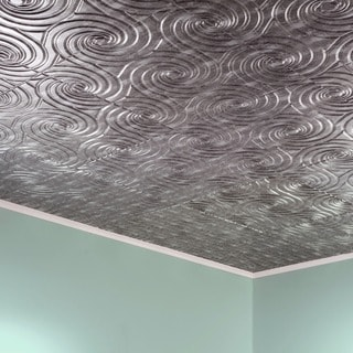 Fasade Typhoon Crosshatch Silver 2-feet x 2-feet Glue-up Ceiling Tile