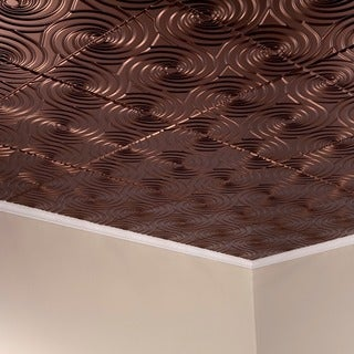 Fasade Typhoon Oil Rubbed Bronze 2-feet x 2-feet Glue-up Ceiling Tile