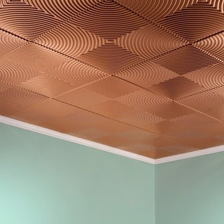 Fasade Echo Polished Copper 2-feet x 2-feet Glue-up Ceiling Tile