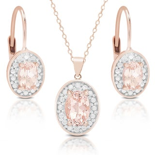 Dolce Giavonna Rose Gold over Silver Morganite and Diamond Accent Earring, Pendant or Set with Gift Box