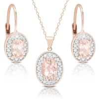 Dolce Giavonna Rose Gold Over Silver Morganite and Diamond Accent Earring, Pendant Or Set