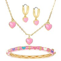 Molly and Emma Children's Gold Overlay Pink Enamel Heart Jewelry Set with Gift Box