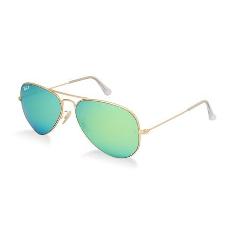 Ray-Ban RB3025 Aviator Gold Frame Mirror Green Lenses Sunglasses