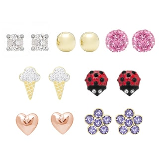 Molly and Emma Gold over Sterling Silver Crystal Stud Earrings Set with Red Bow Gift Box