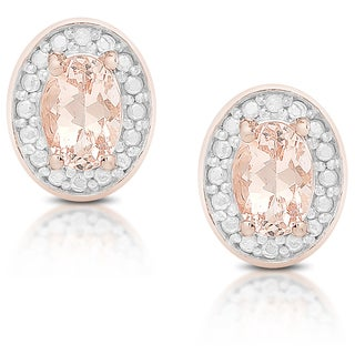 Dolce Giavonna Rose Gold over Sterling Silver Morganite and Diamond Accent Stud Earring with Gift Box