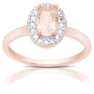 Dolce Giavonna Rose Gold Over Sterling Silver Morganite and Diamond Accent Ring with Gift Box