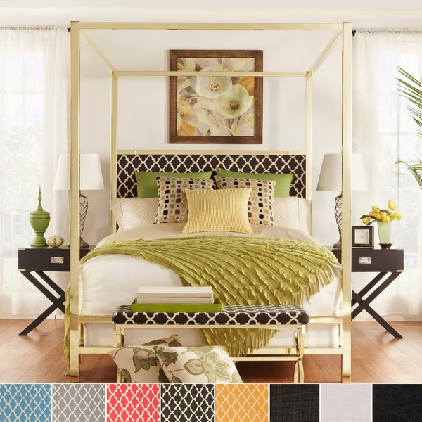 Solivita King Size Canopy Gold Metal Poster Bed By Inspire