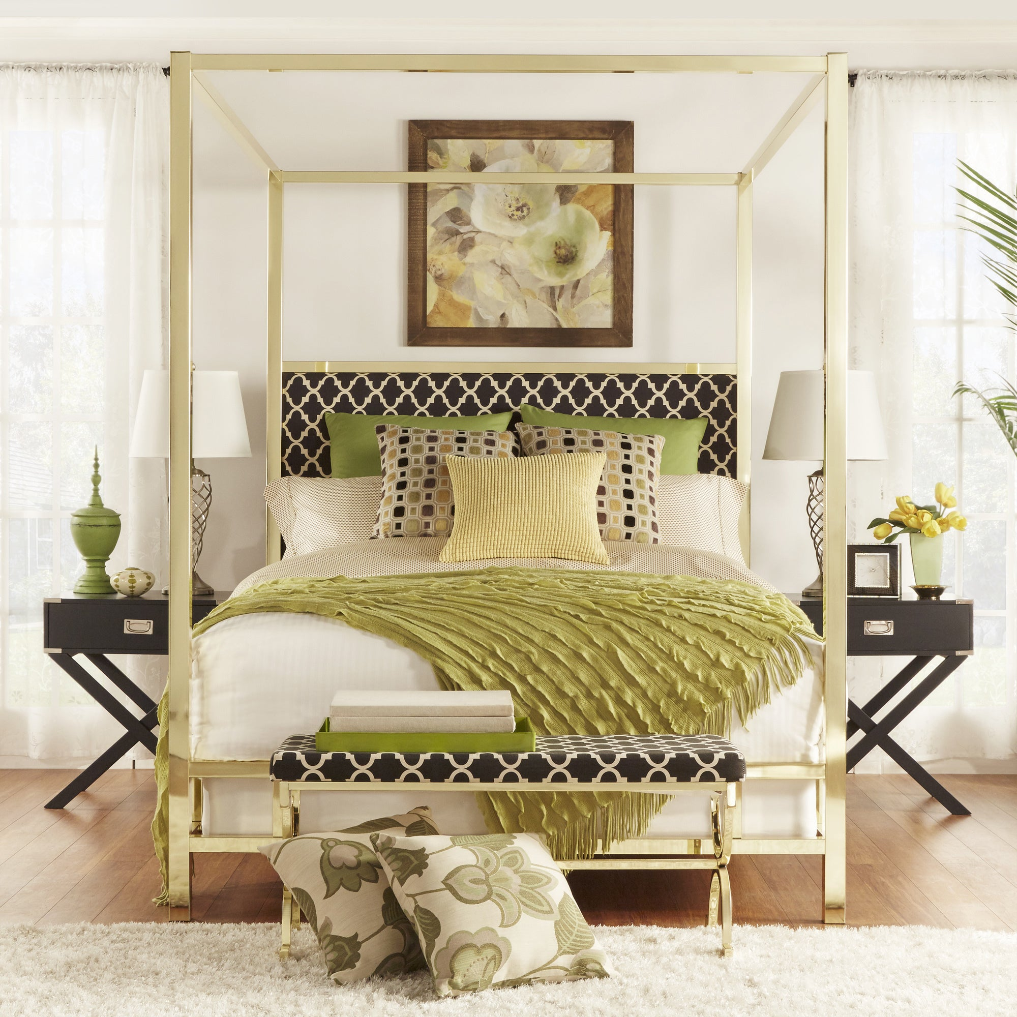 Solivita King Size Canopy Gold Metal Poster Bed By Inspire Q Bold Overstock 10395734