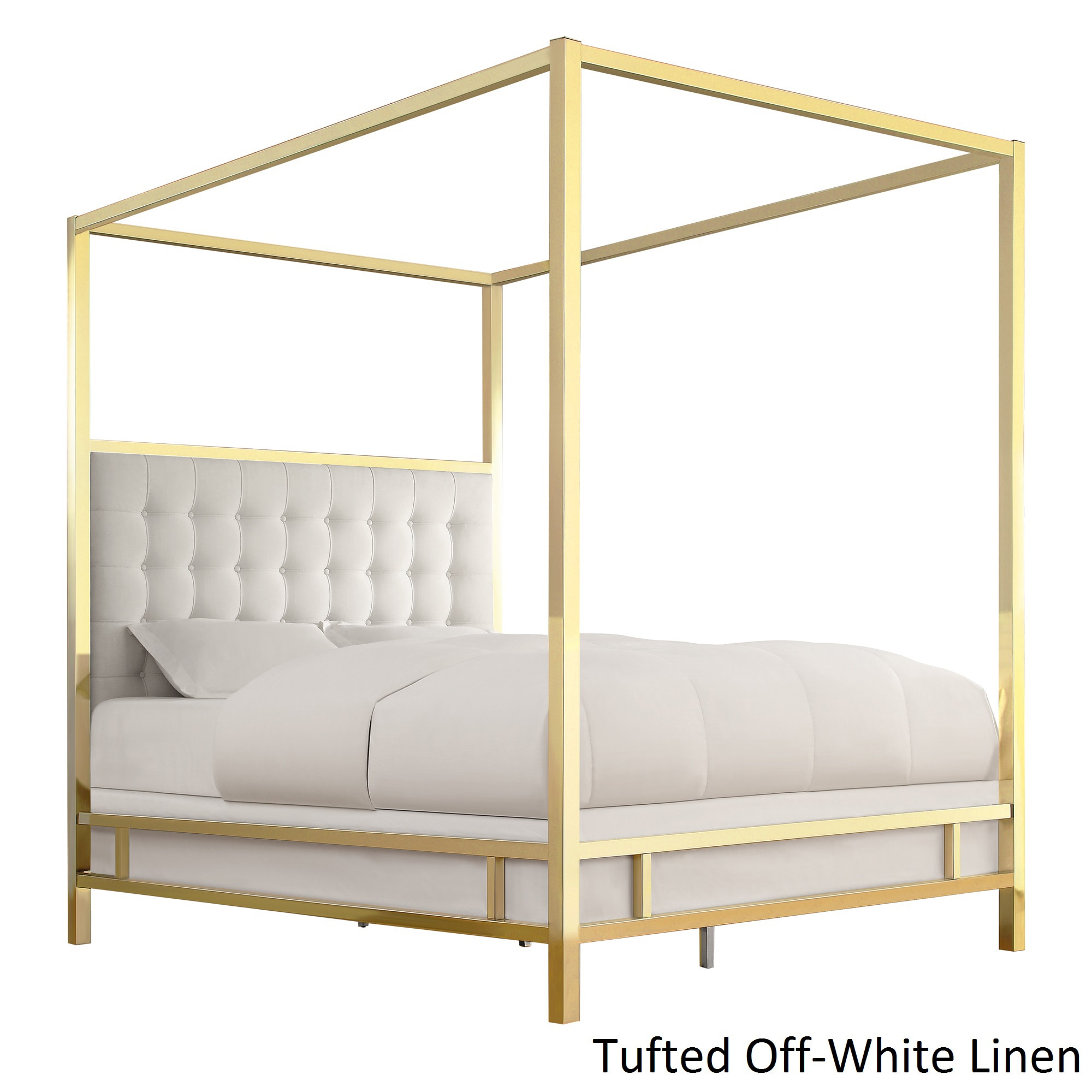 Solivita King-size Canopy Gold Metal Poster Bed by iNSPIR...