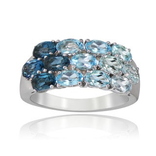 Glitzy Rocks Sterling Silver Sky Swiss and Blue and London Blue Topaz Band Ring