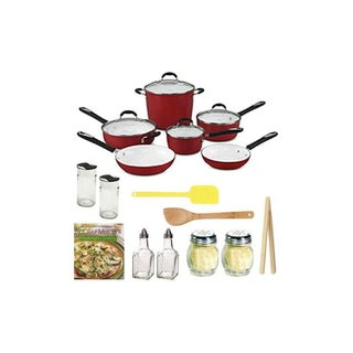 Cuisinart 59-10R Elements Nonstick 10-Piece Cookware Set with Not Your Mother's Weeknight Cooking + Kitchenware Accessory Kit