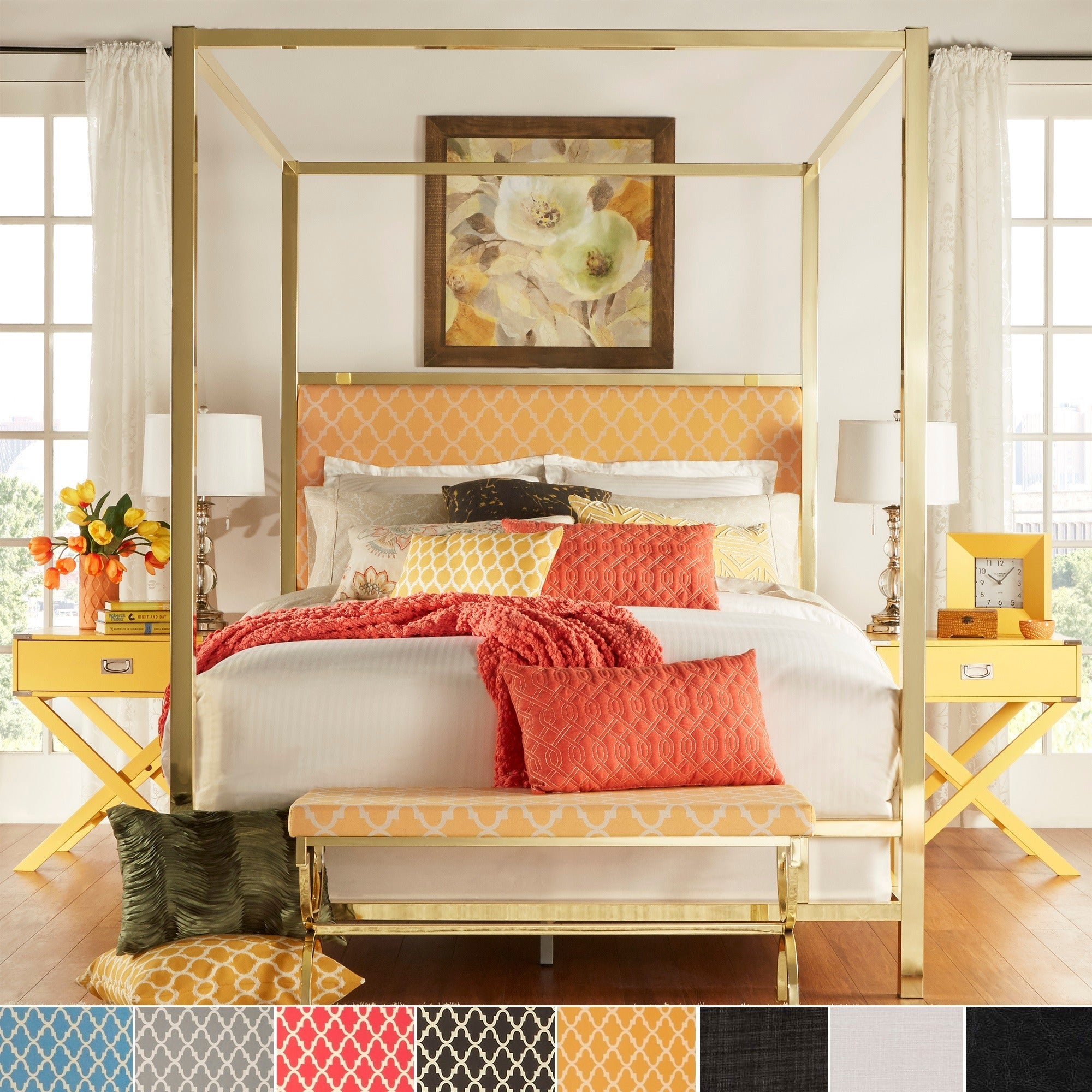 Solivita Full-sized Canopy Gold Metal Poster Bed by iNSPI...