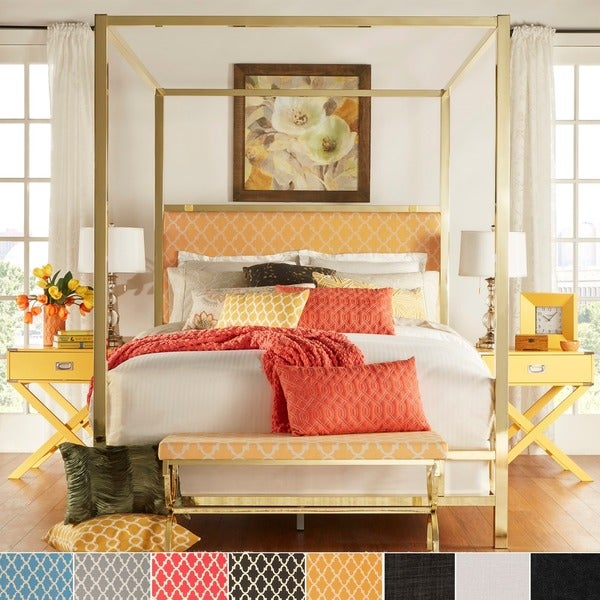 solivita full sized canopy gold metal poster bed by inspire q bold